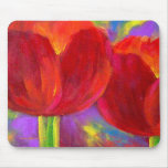 Red Tulips Flowers Painting Art - Multi Mouse Mat