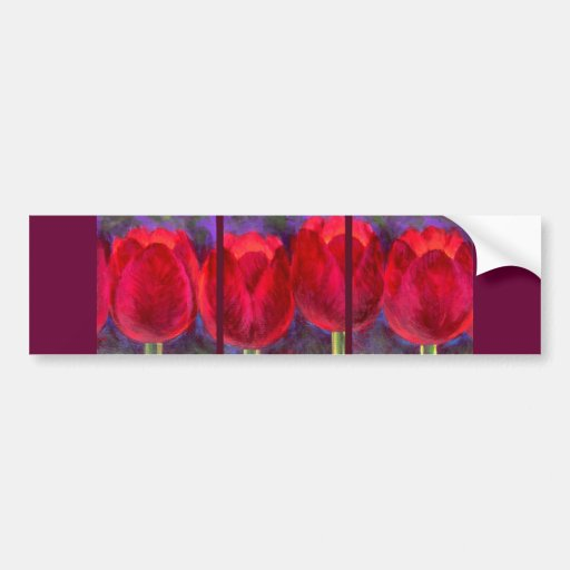 Red Tulips Flowers Painting - Multi Bumper Stickers