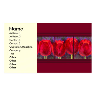 Red Tulips Flowers Painting - Multi Double-Sided Standard Business Cards (Pack Of 100)