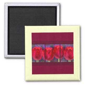 Red Tulips Flowers Painting - Multi Fridge Magnets