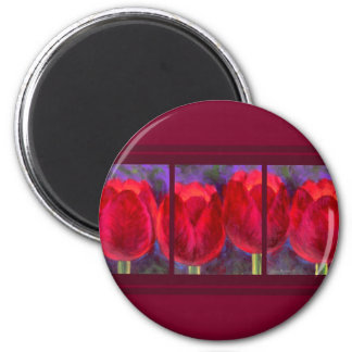 Red Tulips Flowers Painting - Multi Refrigerator Magnets