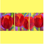 Red Tulips Flowers Painting Photo Sculpture
