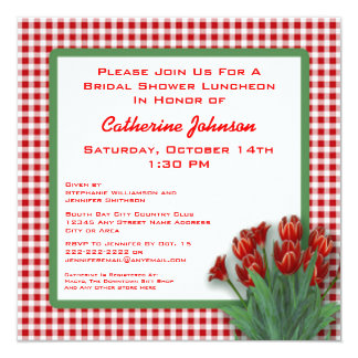 Red Tulips Gingham Checked Bridal Shower Luncheon Card
