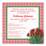 Red Tulips Gingham Checked Bridal Shower Luncheon Custom Invitation