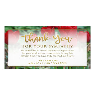 Red Tulips Golden Thank You Sympathy Card
