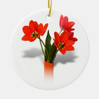 Red Tulips in Vase Christmas Ornament