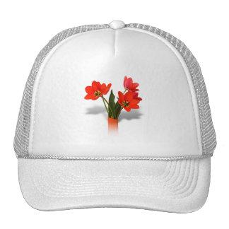 Red Tulips in Vase Mesh Hats