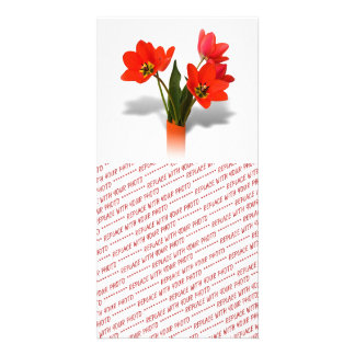 Red Tulips in Vase Photo Card Template