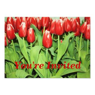 """Red Tulips Invitation 5"""" X 7"""" Invitation Card"""