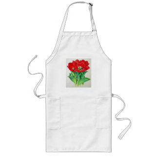 Red Tulips Long Apron
