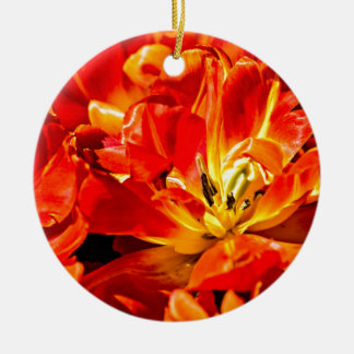 Red Tulips Macro Christmas Ornament