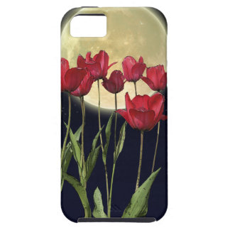 Red Tulips & Moon Art Cell Phone Case iPhone 5 Case