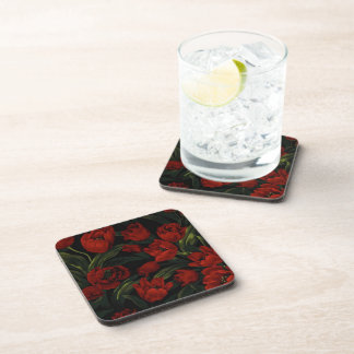 Red Tulips on Black Drink Coasters