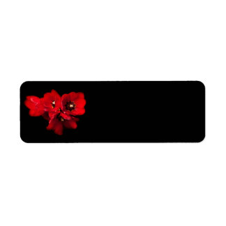 Red Tulips on Black - Customized Tulip Template Return Address Label