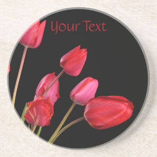 """Red Tulips on Black"" Drink Coaster"