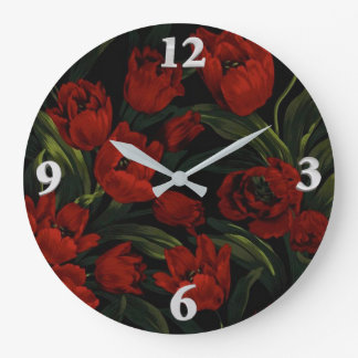 Red Tulips on Black Large Clock