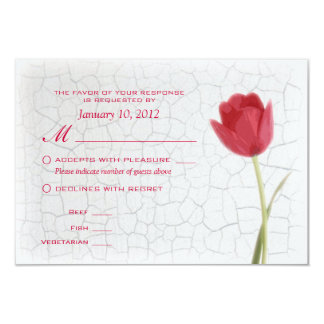 Red Tulips on Crackle Paint RSVP w/ Meal Options 9 Cm X 13 Cm Invitation Card