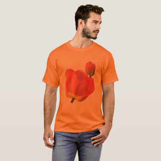 Red Tulips on Orange Up to 6x Plus Size T-Shirt