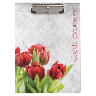 Red Tulips on Shabby Chic Silver Damask Clipboard