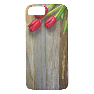red tulips on wood iPhone 7 case