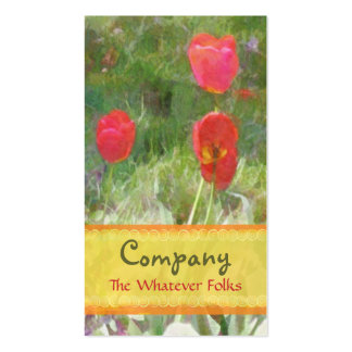 Red Tulips Orange Yellow Ribbon Pack Of Standard Business Cards
