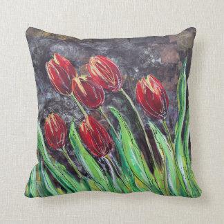 Red Tulips Original Art Flower Throw Pillow