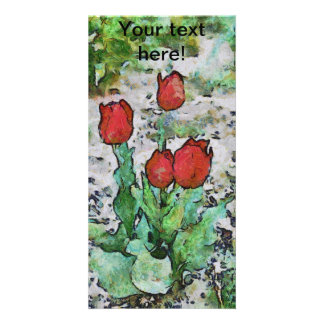 Red tulips painting custom photo card