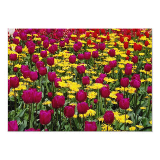 Red Tulips, pansies, daisies and primulas flowers Custom Invitations