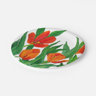 Red Tulips Paper Plate