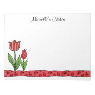 Red Tulips Personalized 11 x 8.5 Notepad