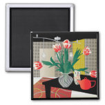 Red Tulips Refrigerator Magnet