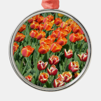 Red tulips Silver-Colored round decoration
