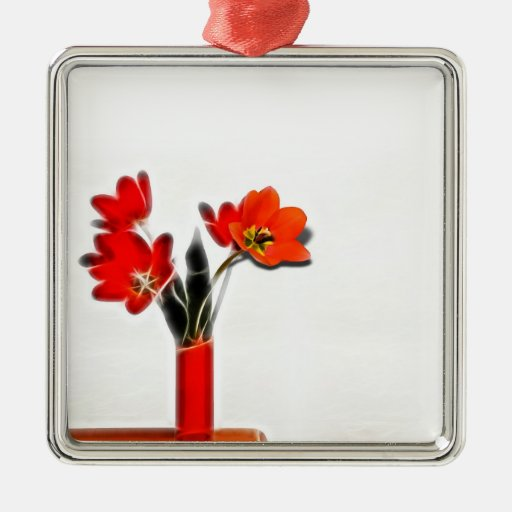 Red Tulips to the Side Christmas Tree Ornament