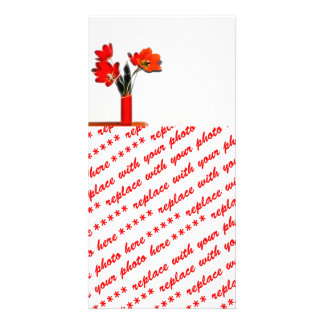 Red Tulips to the Side Custom Photo Card