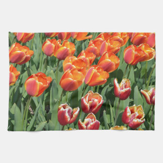 Red tulips towels