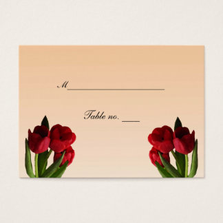 Red Tulips Wedding Escort Card