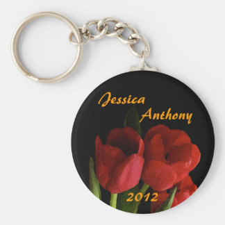 Red Tulips Wedding Key Ring