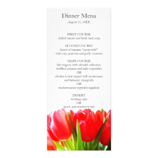 Red Tulips Wedding Menu