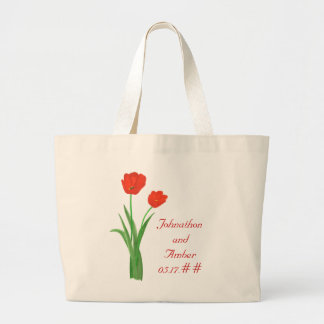 Red Tulips, Wedding Tote Bags
