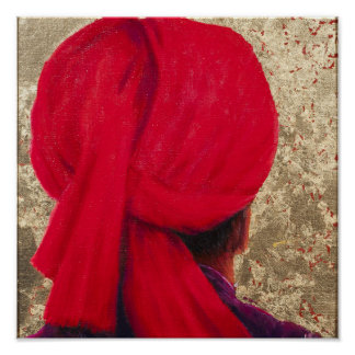 Red Turban on Gold Leaf 2014 Poster