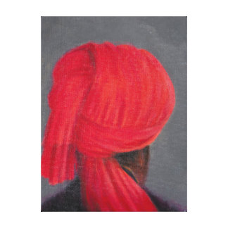 Red Turban on Grey 2014 Canvas Print