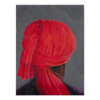 Red Turban on Grey 2014 Poster