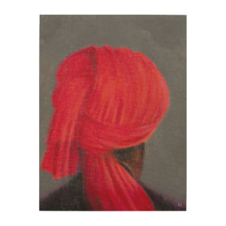 Red Turban on Grey 2014 Wood Wall Decor