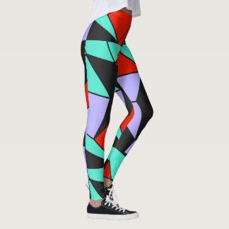 Red Turquoise Black Geometric Womens Leggings