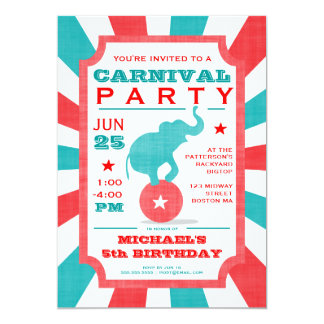 Red | Turquoise Carnival Party Big Top Birthday 13 Cm X 18 Cm Invitation Card