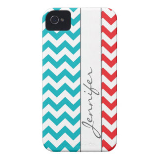Red & Turquoise Chevron Name iPhone 4/4s iPhone 4 Cover