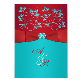 "Red Turquoise Floral PRINTED Ribbon Wedding Invite 5"" X 7"" Invitation Card"