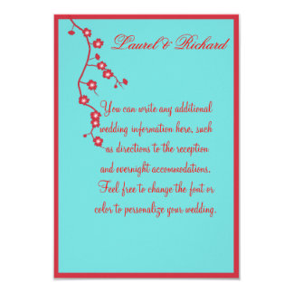 Red & Turquoise Floral Wedding Reception 9 Cm X 13 Cm Invitation Card