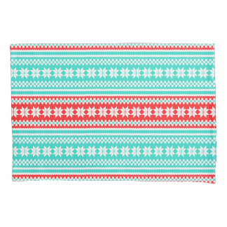 Red Turquoise Norwegian Christmas Sweater Pattern Pillowcase