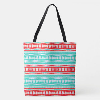 Red Turquoise Norwegian Christmas Sweater Pattern Tote Bag
